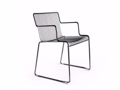 - Sled base steel chair with armrests LEROD | Chair with armrests - Derlot Editions