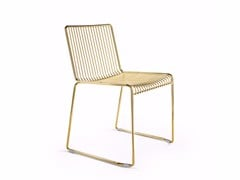 - Sled base stackable steel chair LEROD | Sled base chair - Derlot Editions