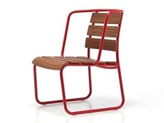 - Sled base teak garden armchair with armrests LIDO OUT 04 - Very Wood