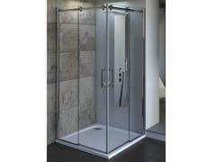 - Tempered glass shower cabin with sliding door MAGNUM | Corner shower cabin - Ideal Standard Italia