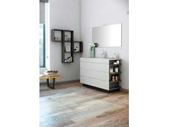 - Contemporary style single wood-product vanity unit with drawers with mirror MAKING SLATE P/18 - Fiora