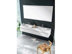 - Wall-mounted MDF vanity unit with drawers with mirror MAKING STUCCO P/12 - Fiora