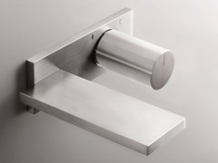 - Contemporary style wall-mounted stainless steel washbasin mixer with brushed finishing with plate MILANO - D113A/E610B - Fantini Rubinetti