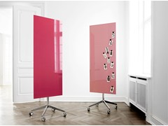 - Lavagna per ufficio magnetica in vetro con ruote Mood Mobile - Lintex