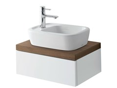 - Single wall-mounted walnut vanity unit with doors NC | Single vanity unit - TOTO