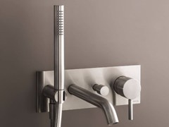 - Wall-mounted bathtub mixer with hand shower NOSTROMO - D020A/E321B - Fantini Rubinetti