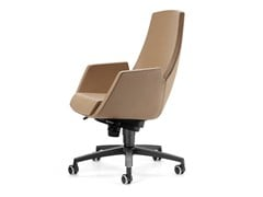 - Height-adjustable leather executive chair with 5-spoke base with casters NUBIA 2918 - TALIN