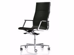 - Height-adjustable leather executive chair with 5-spoke base with casters NULITE | Executive chair - Luxy