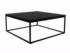 - Lacquered square stainless steel and wood coffee table OAK THIN | Square coffee table - Ethnicraft