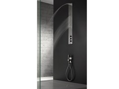 - Wall-mounted stainless steel shower panel with overhead shower OBLIQUA | Shower panel with overhead shower - ZAZZERI