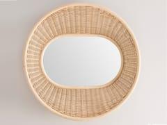Specchio rotondo in rattan a pareteONDE - ORCHID EDITION