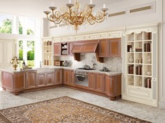 - Wooden kitchen with handles with peninsula PANTHEON | Kitchen with handles - Cucine Lube