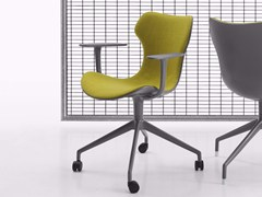 - Fabric task chair with 4-Spoke base with armrests with casters PAPILIO SHELL | Task chair with casters - B&B Italia