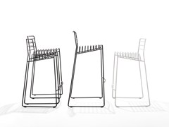 Sedia a slitta in acciaioPARK | Sedia - B-LINE