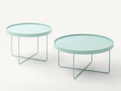 Tavolino rotondo in acciaio e legno con vassoioPASSEPARTOUT - PAOLA LENTI