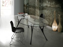 - Oval glass and steel table PEGASO | Oval table - Caimi Brevetti