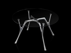 - Round glass and steel table PEGASO | Round table - Caimi Brevetti