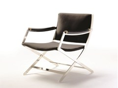 - Upholstered leather easy chair with armrests PETER | Easy chair with armrests - FLEXFORM
