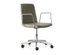 - Swivel leather task chair with 5-Spoke base with casters PETIT AMELIE | Task chair with armrests - Quinti Sedute