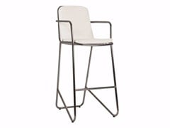 - Stainless steel counter stool with armrests PHOENIX | Chair - Sérénité Luxury Monaco