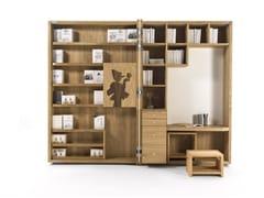 Libreria a giorno in legno massello con scrittoioPINOCCHIO