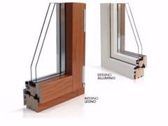 - Wood and aluminium casement window PLATINUM 900 QUADRA 90°   Double glazed window - Cos.Met. F.lli Rubolino