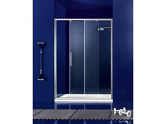- Niche glass shower cabin with sliding door PRAIA - 2 - INDA®