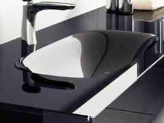 Lavabo ovale in vetro con pianoQ.LINE | Lavabo con piano - Q'IN
