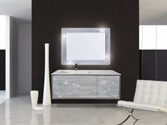 - Lacquered wall-mounted vanity unit with mirror QUARZO CM01Q - LA BUSSOLA