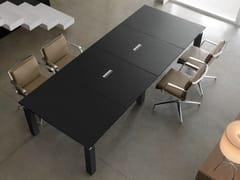 - Modular rectangular leather meeting table with cable management REGAL | Rectangular meeting table - Quinti Sedute