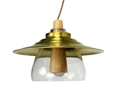 LAMPADA A SOSPENSIONE IN LEGNO VETRO E OTTONEREVOLVE   LAMPADA A SOSPENSIONE - BORI KOVÁCS
