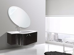 - Lacquered wall-mounted vanity unit with mirror RODI CM13RO - LA BUSSOLA