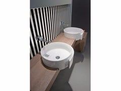 - Semi-inset ceramic washbasin ROLL 44 | Semi-inset washbasin - CERAMICA FLAMINIA