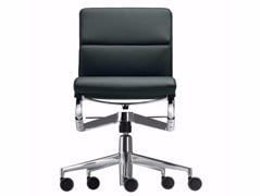 - Height-adjustable swivel leather task chair with casters ROLLINGFRAME+ LOW TILT SOFT - 426 - Alias