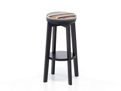 - High oak stool with footrest ROND 06 - Very Wood
