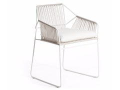 - Sled base stainless steel garden chair with armrests SANDUR | Chair with armrests - OASIQ