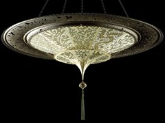 - Silk pendant lamp SCHEHERAZADE 2 TIERS WITH METAL RING - Fortuny® by Venetia Studium