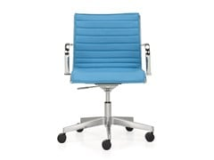 - Height-adjustable leather task chair with 5-Spoke base with armrests SEASON SLIM | Task chair - Quinti Sedute