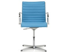 - Height-adjustable swivel leather task chair with armrests SEASON SLIM | Task chair with 4-Spoke base - Quinti Sedute