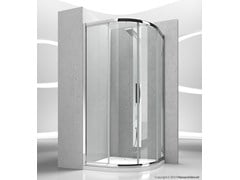 - Corner semicircular crystal shower cabin with sliding door SERIE 6000: 6000T - VISMARAVETRO