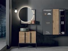 Mobile lavabo singolo in legno impiallacciato con anteSIDÉRO COMP. 9 - BIREX