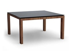 - Square wood and glass table SIGMA | Square table - Calligaris