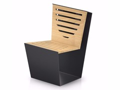 - Steel and wood outdoor chair SINGLE WOOD - LAB23
