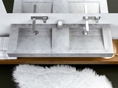 - Double wall-mounted concrete washbasin SLANT 07 DOUBLE - Gravelli