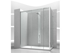 - Corner tempered glass shower cabin with sliding door SLIDE V3+VG - VISMARAVETRO