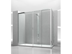 - Corner tempered glass shower cabin with sliding door SLIDE V4+VG - VISMARAVETRO