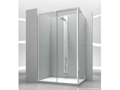- Corner tempered glass shower cabin with sliding door SLIDE VN+VG - VISMARAVETRO
