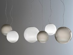 Lampada a sospensione a LED fatta a mano in vetro soffiatoSMOKE - PANZERI