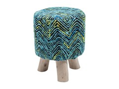 - Low upholstered fabric stool SUNSET BLUE | Low stool - KARE-DESIGN