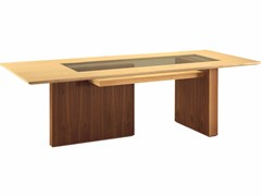 - Rectangular wooden table CARTESIA | Wood and glass table - Morelato